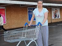 Pyjama-wearing shopper Elaine Carmody