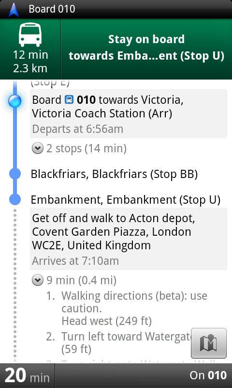 Google Transit map