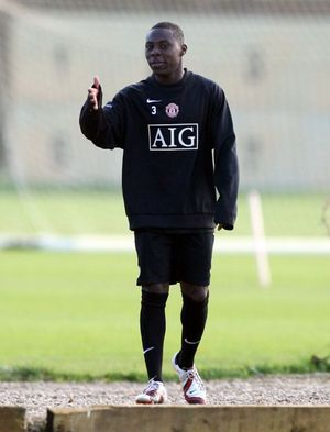 Freddy Adu from the United States gestures during a Manchester United training session in Manchester, England, Monday Nov. 20, 2006, before his team's forthcoming Champions League soccer match against Celtic on Tuesday No