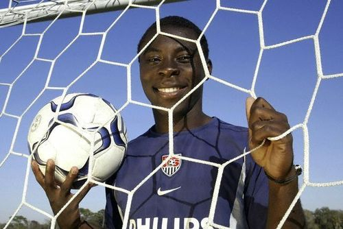 13-year-old soccer phenomena Freddy Adu (11), a member of the US Under-17 National Team at the IMG Academy training center.