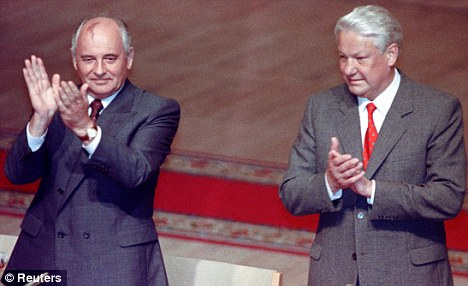 Yeltsin and Gorbachev