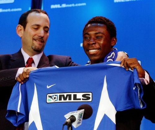 Don Garber (L), commissioner of Major League Soccer (MLS), at a press conference, 19 November, 2003, at Madison Square Garden in New York. It was announced that Adu is eligible for the MLS 2004 SuperDraft