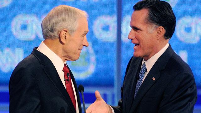 Mitt Romney greets Ron Paul after latest CNN debate