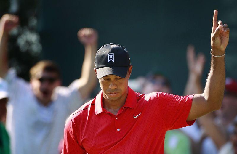 Tiger Woods celebrates