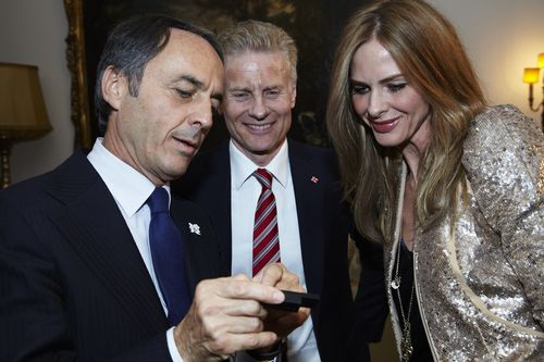 IMAGE 1 Technogym Founder Mr  Nerio Alessandri is joined by Trinny Woodall and CEO of LOCOG Paul Deighton
