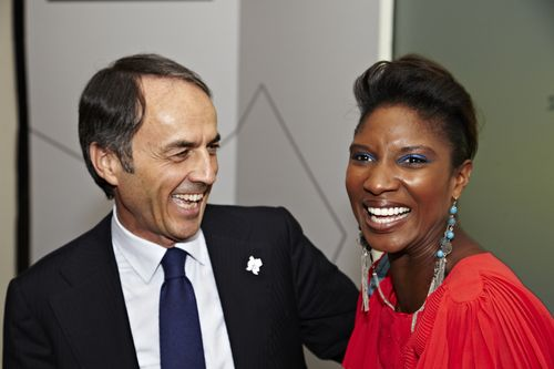 IMAGE 2 Technogym Founder Mr  Nerio Alessandri is joined by retired British Athlete Denise Lewis