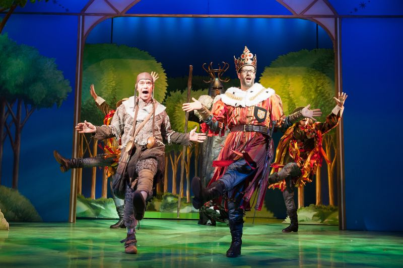 Todd Carty as Patsy and Marcus Brigstocke as King Arthur in Spamalot  Photo Credit Manuel Harlan