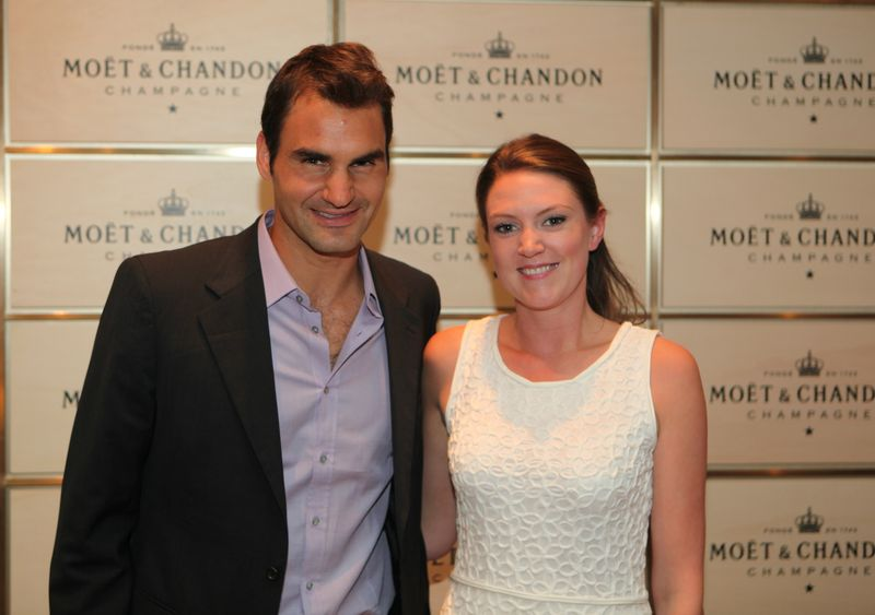 Charlotte Griffith & Roger Federer at Game, Set & Moët Challenge Paris 21 mai 2013