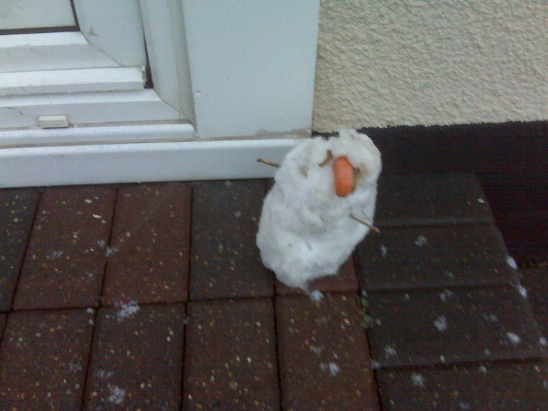 Mini snowman on doorstep