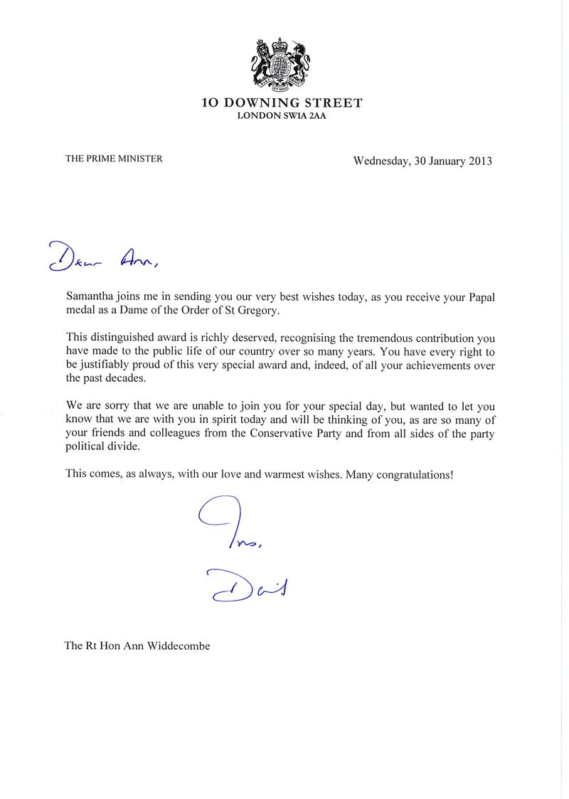 Ann Widdecombe - Cameron letter