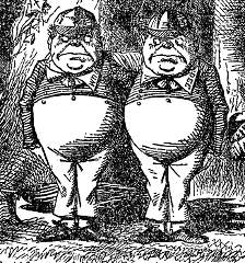 Tenniel illustration of Tweedledum (left) and ...