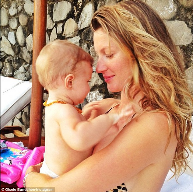 Baby and me: Gisele shared a picture on Twitter on Sunday showing her with daughter Vivian