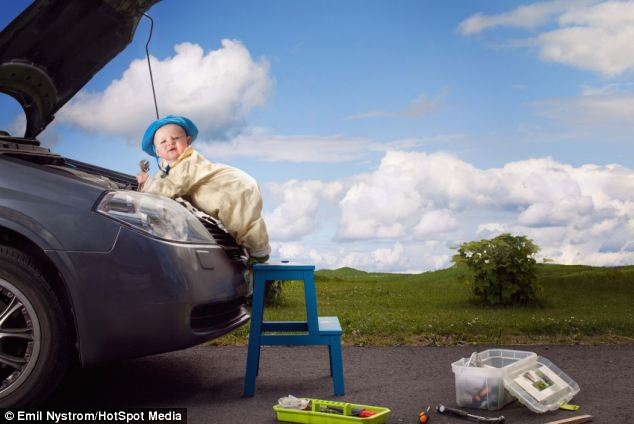 Photographer Emil Nystrom also transformed his daughter into a mechanic for a fun family album