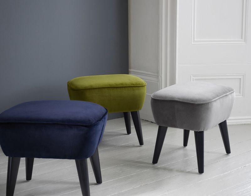 Brissi - Blue, green and grey Draycott stools - £245  www.brissi.com 0844 800 9912