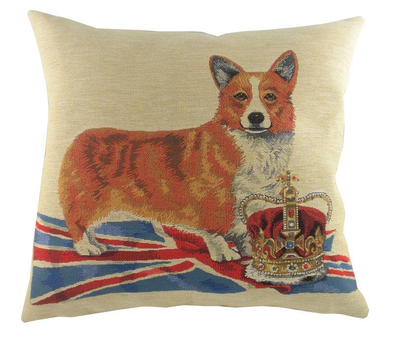 Pp Corgi Crown cushion by Evans Lichfield at PetsPyjamas.com, £25