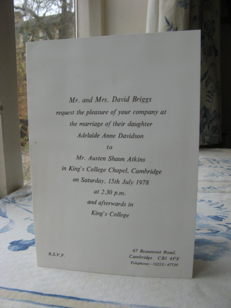 Anne's wedding invitation