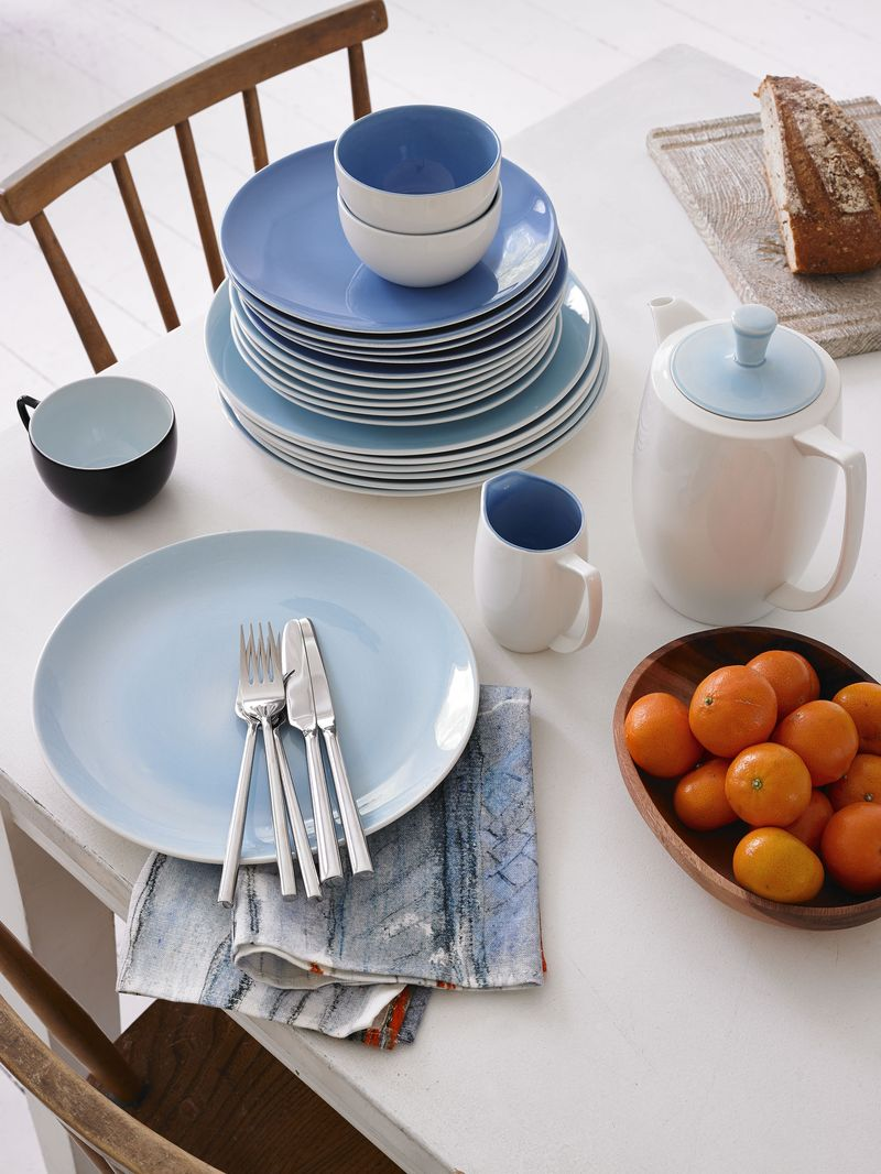 Branksome China - Breakfast cup, sugar bowl, coffee pot, jug, plates - Sahara & Queens Blue, Arctic Blue - breakfast table lifestyle - Portrait
