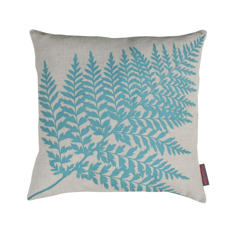 Clarissa Hulse Single Fern linen cushion blue £35