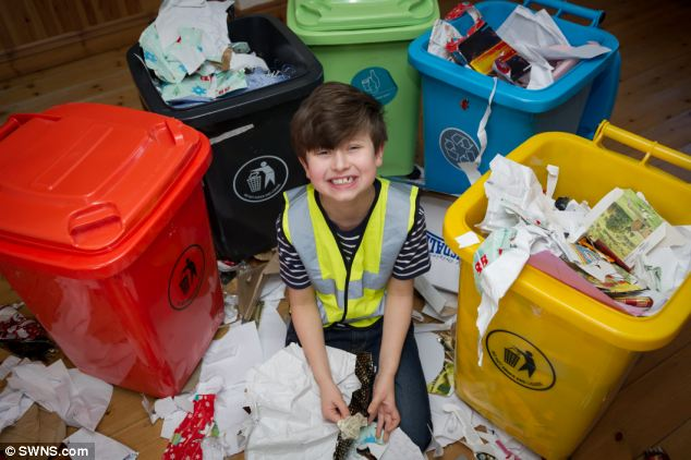 Young William Bateman, pictured above, is so obsessed with rubbish that he entered a bid of £3,500 for a bin lorry on his mother's eBay account when she wasn't looking