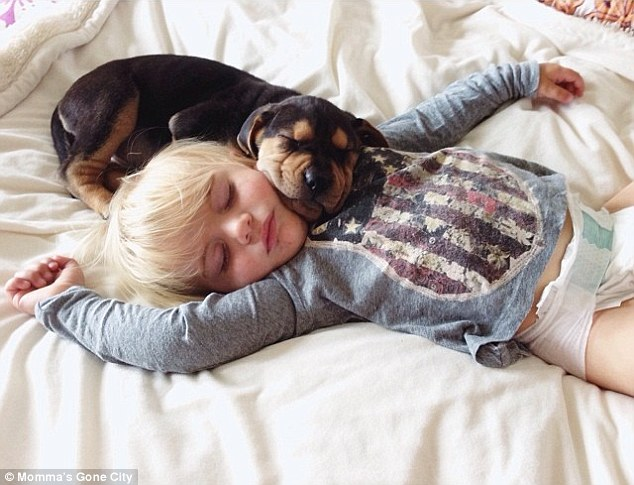 Picture time: Mrs Shyba posts daily pictures of toddler-doggy nap time on Instagram