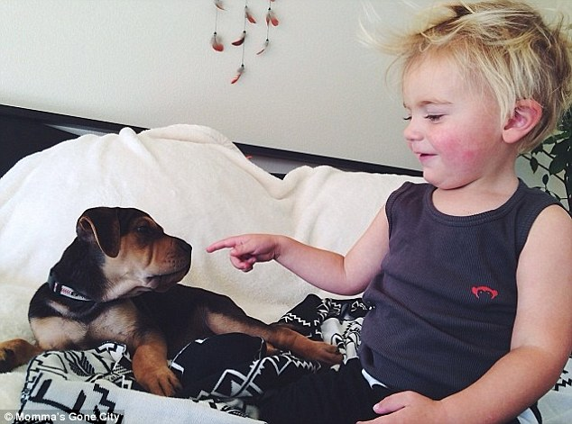 Waking up: Theo and Beau are pals awake too