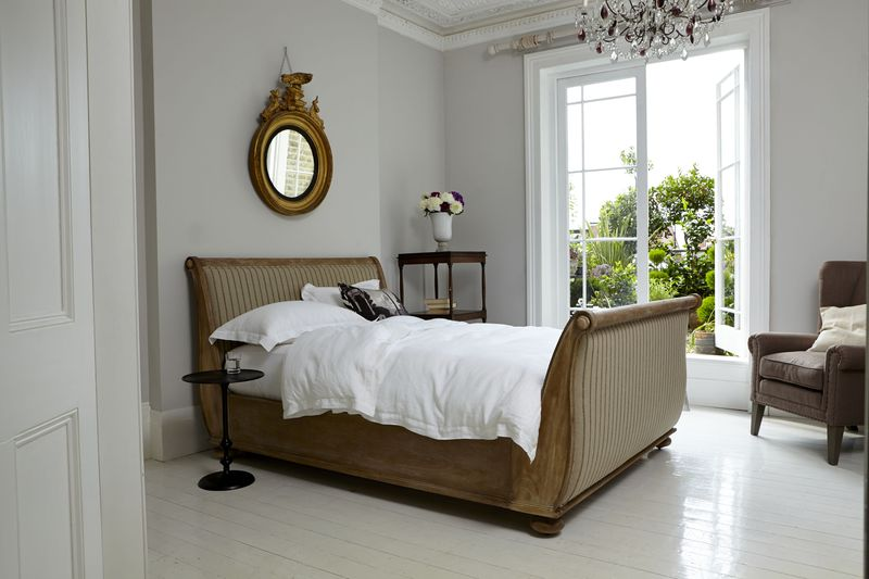 Sofas & Stuff - St Denis double bed in Barra Ticking Pine Cone - lifestyle - Portrait