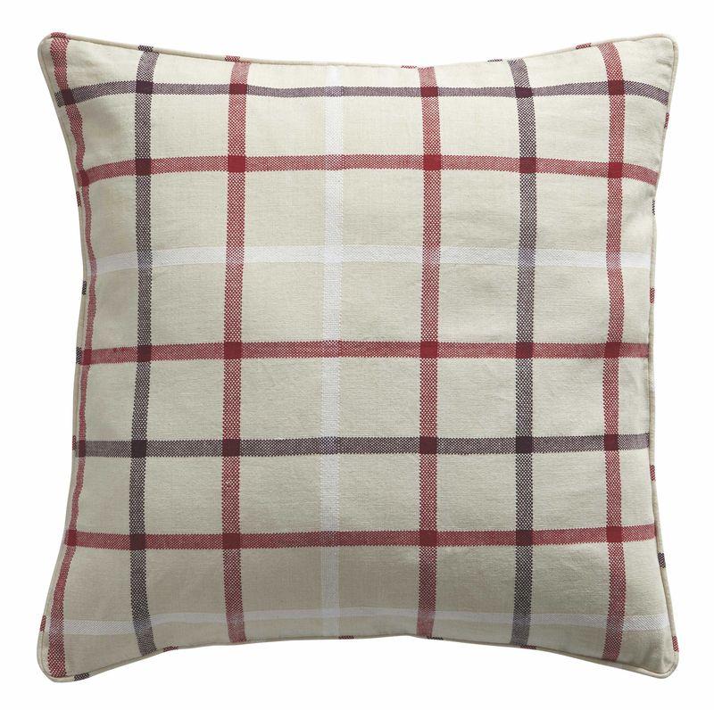 Bq Colours Embu Cream & Berry Checked Cushion £11.98