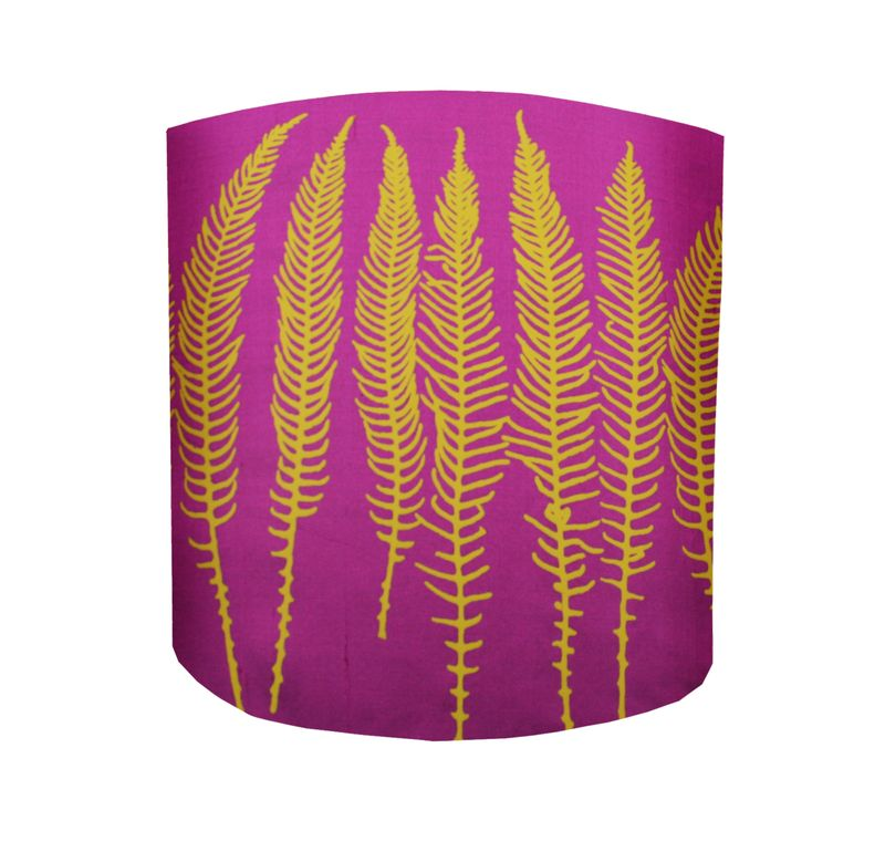 Light Clarissa Hulse, Deer Fern silk lampshade, magenta and turmeric, £65