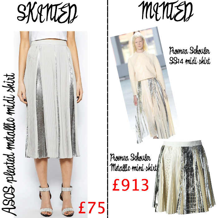 Skinted minted metallic midi skirt