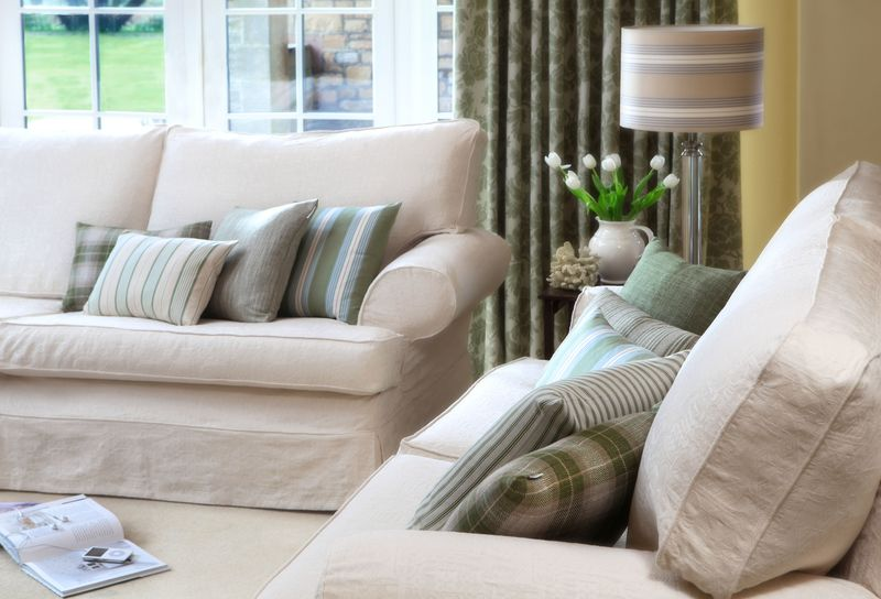 Ian Mankin - Cushions in Kintyre Check Sage, Ticking 01 Seagreen, Panama Seagreen Sage, Jura Stripe Sage and Newbury Hopsack Sage - lifestyle - Portrait