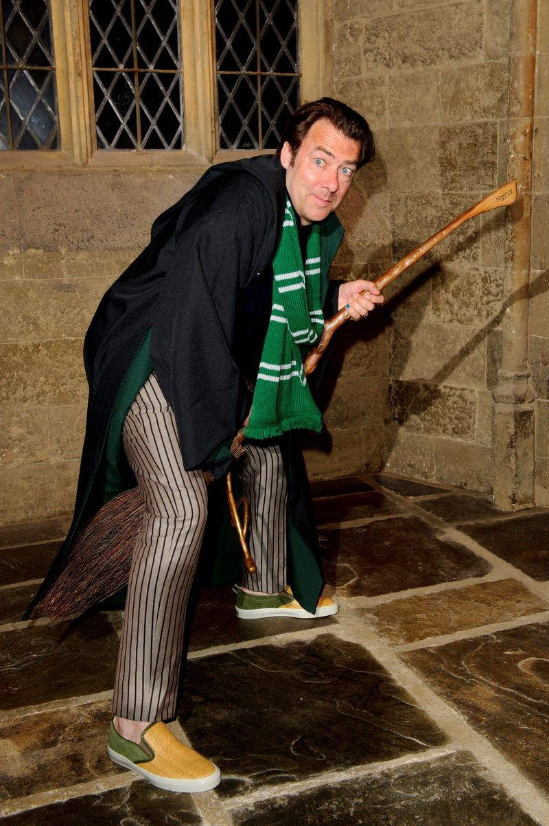 Jonathan Ross on a Nimbus 2000 broomstick at Warner Bros  Studio Tour Londons Harry Potter Summer Screenings Preview Evening (2) (LR)