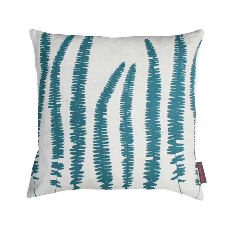 Clarissa Hulse Line of Ferns linen cushion ivory  sea £35