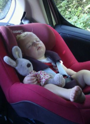Peas in a pod: They even share a car seat