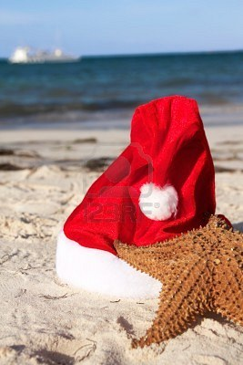 8450447-caribbean-santa-hat-and-starfish-on-beach-closeup