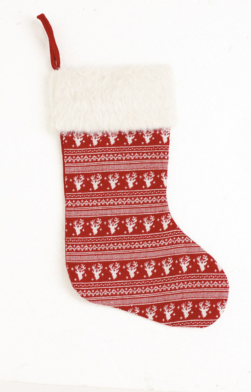 Debenhams-NORDIC KNIT STOCKING  WITH FUR TRIM-£16