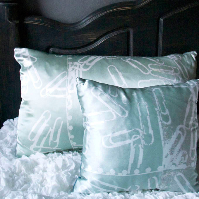 In Spaces Mint Paperclips Silk Cushions £69