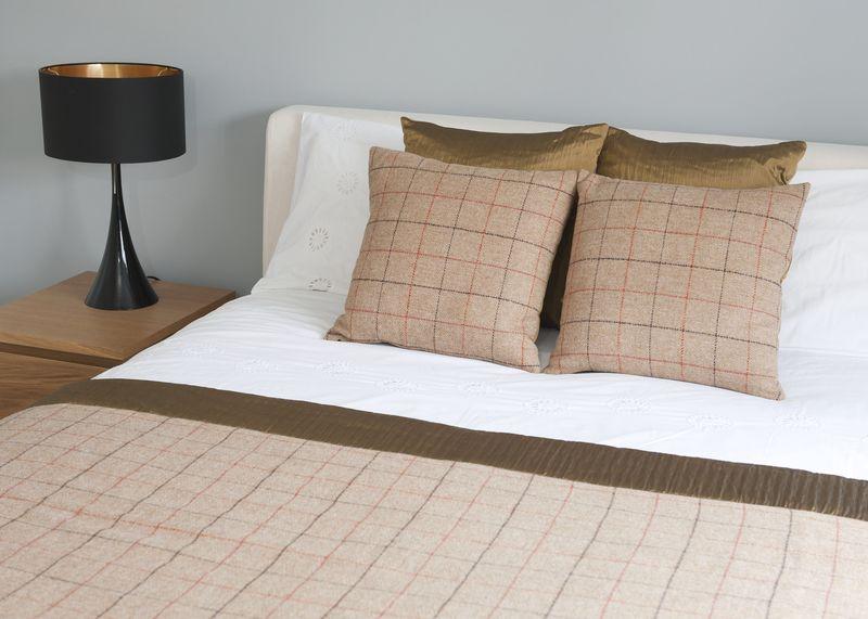 Thread & Favour Hampstead Cushion in Reversible Camel Black & Orange Tweed & Bronze Suffolk Silk £95 Bed LS 2