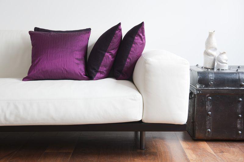 Thread & Favour Hampstead Cushion in Reversible Dark Plum Tweed & Fuschia Suffolk Silk £95 Wide LS