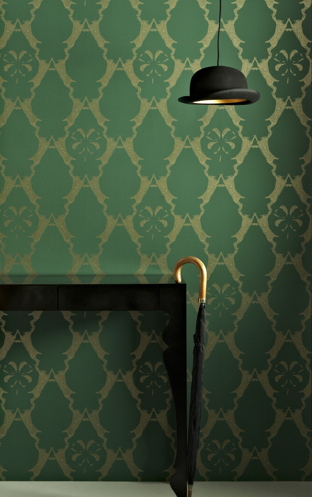 In Spaces Boxing Hares Wallpaper, Billiard Green £78