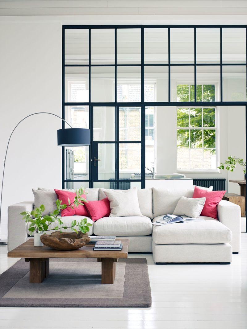 Loft Corner Unit Sofa with Coral Cushions Portrait HR
