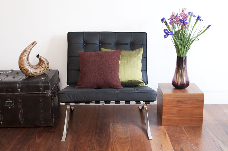 Thread & Favour Hampstead Cushion in Reversible Dark Red Heather Tweed & Muscat Green Suffolk Silk £95 Chair LS