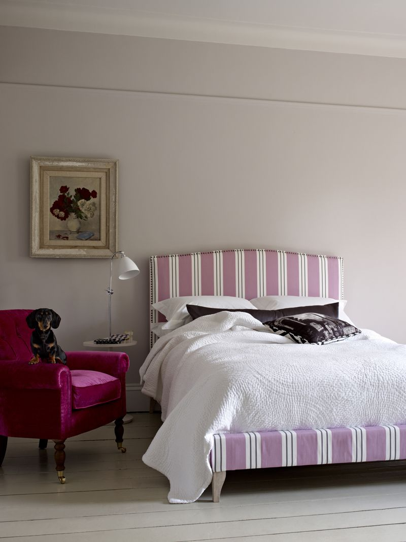Sofas And Stuff   Brick Lane Bed In Pink Ticking With Dog   Portrait