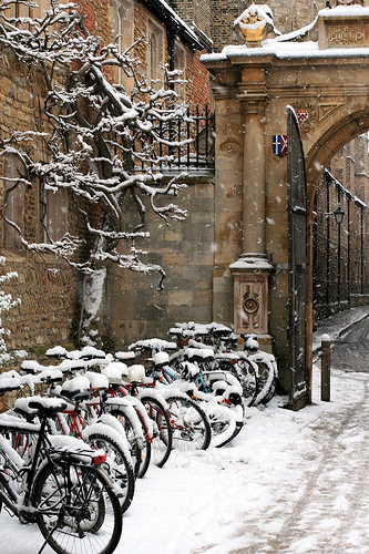 Bishops' Hostel bike racks in the snow