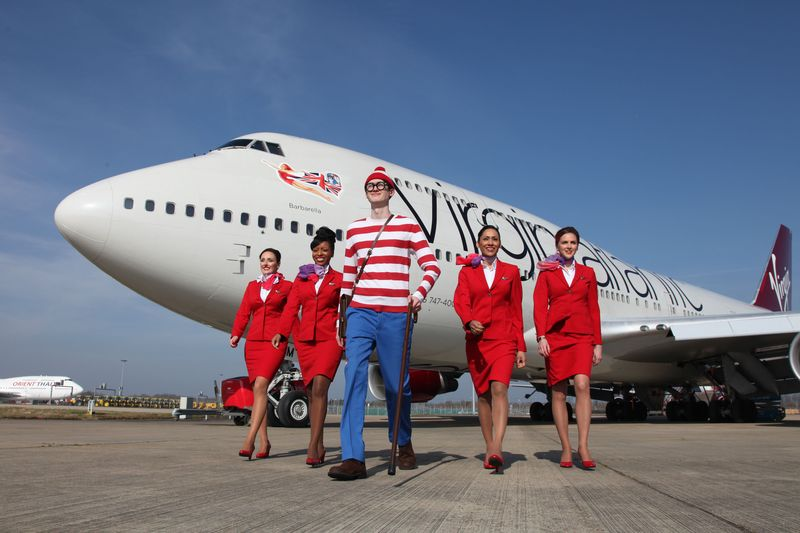 Wally and Virgin crew with plane