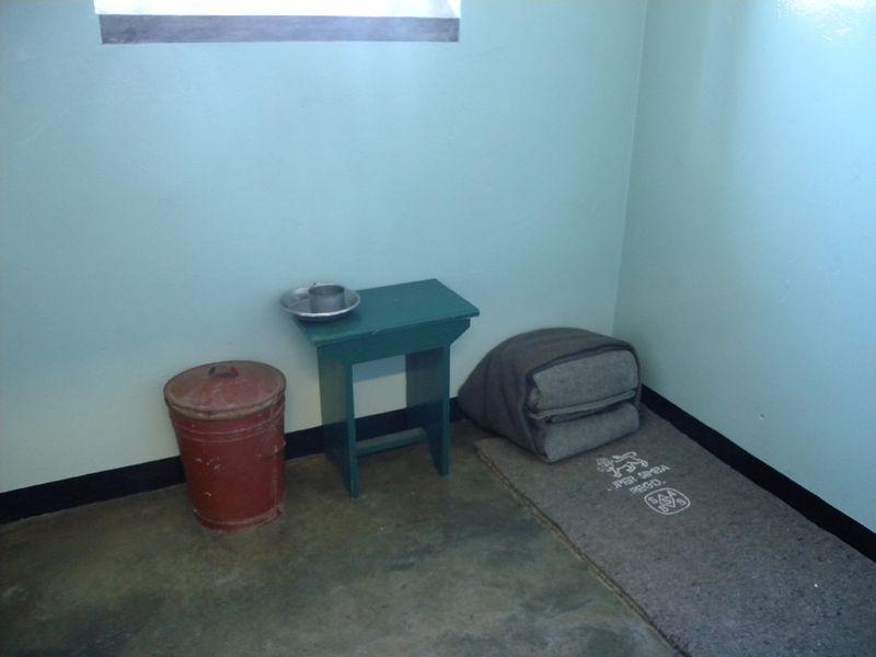 Nelson Mandela's cell. Inmates slept on blankets