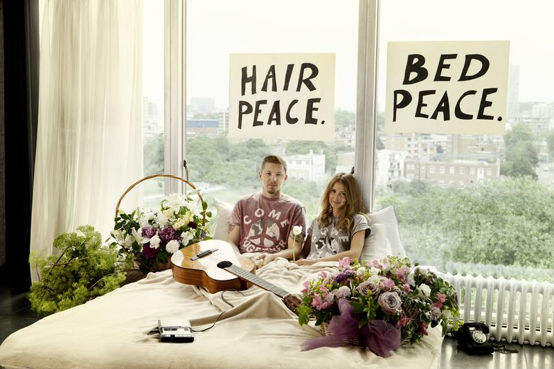 Professor Green and his wife Millie MacIntosh recreate the iconic image of John Lennon and Yoko Ono's 1969 bed-in to launch the exclusive Come Together charity t-shirt for War Child, available at River Island stores now. 3