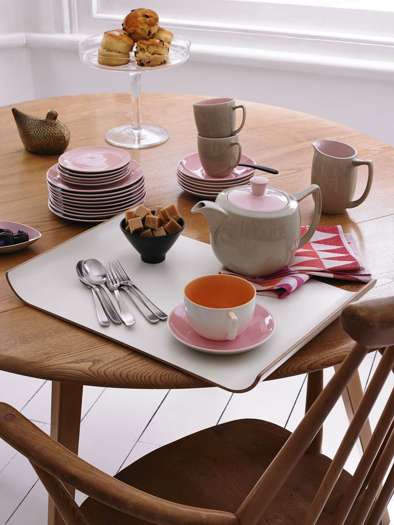 Branksome China - Teapot, teacup & saucer, jug, breakfast cup & saucer, plates - Elephant Grey & Blossom Pink - teatime lifestyle - Potrait