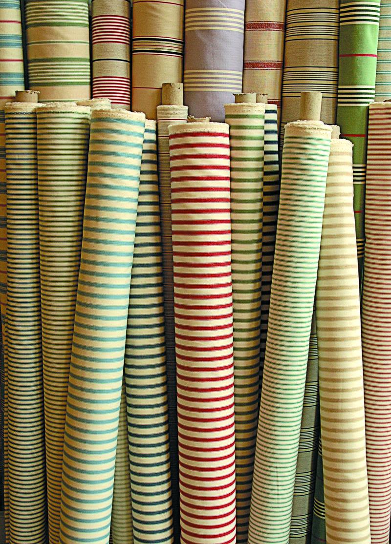 Ian Mankin - Ticking fabric rolls - lifestyle - Portrait