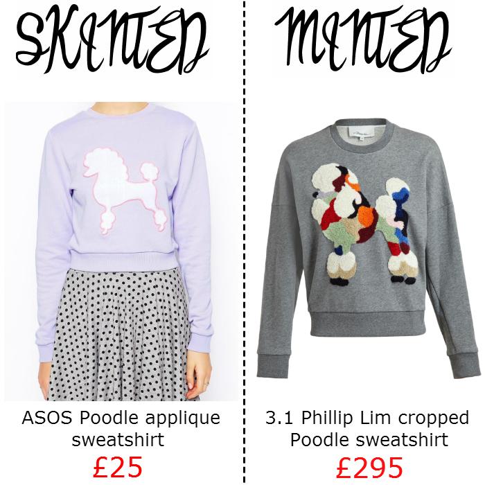 Skinted minted asos phillip lim poodle sweatshirt