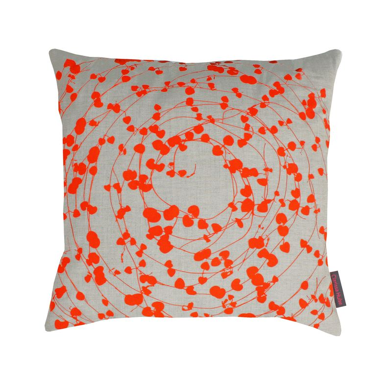 Clarissa Hulse Spiral Hearts linen cushion natural  tiger lily £35